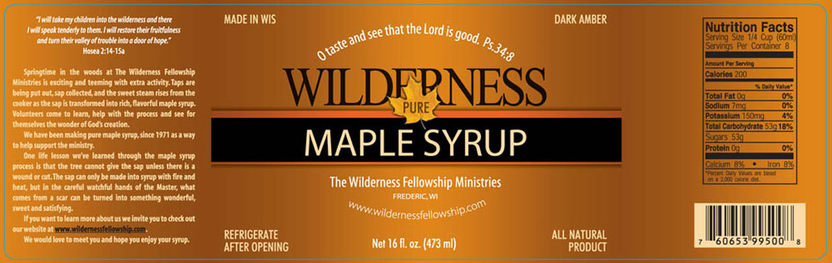 Wilderness Fellowship Wilderness Maple Syrup