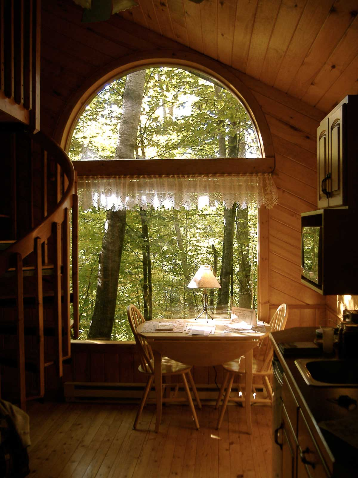 prayer cabins Bo Prayer Cabin Dinette view of the Wilderness