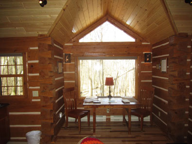 prayer cabins Besel Prayer Cabin Dinette View of Forest