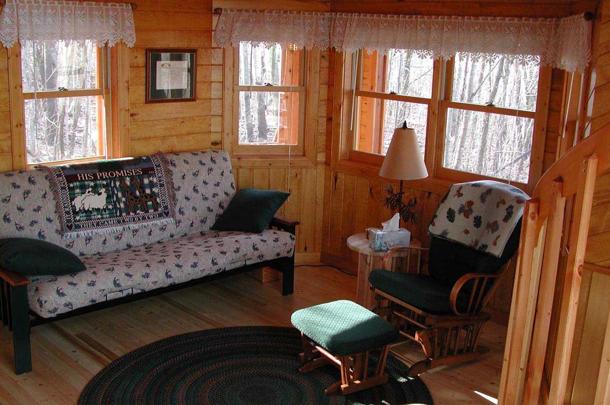 prayer cabins Bo Prayer Cabin Living Area with Double Bed/Futon & Rocker