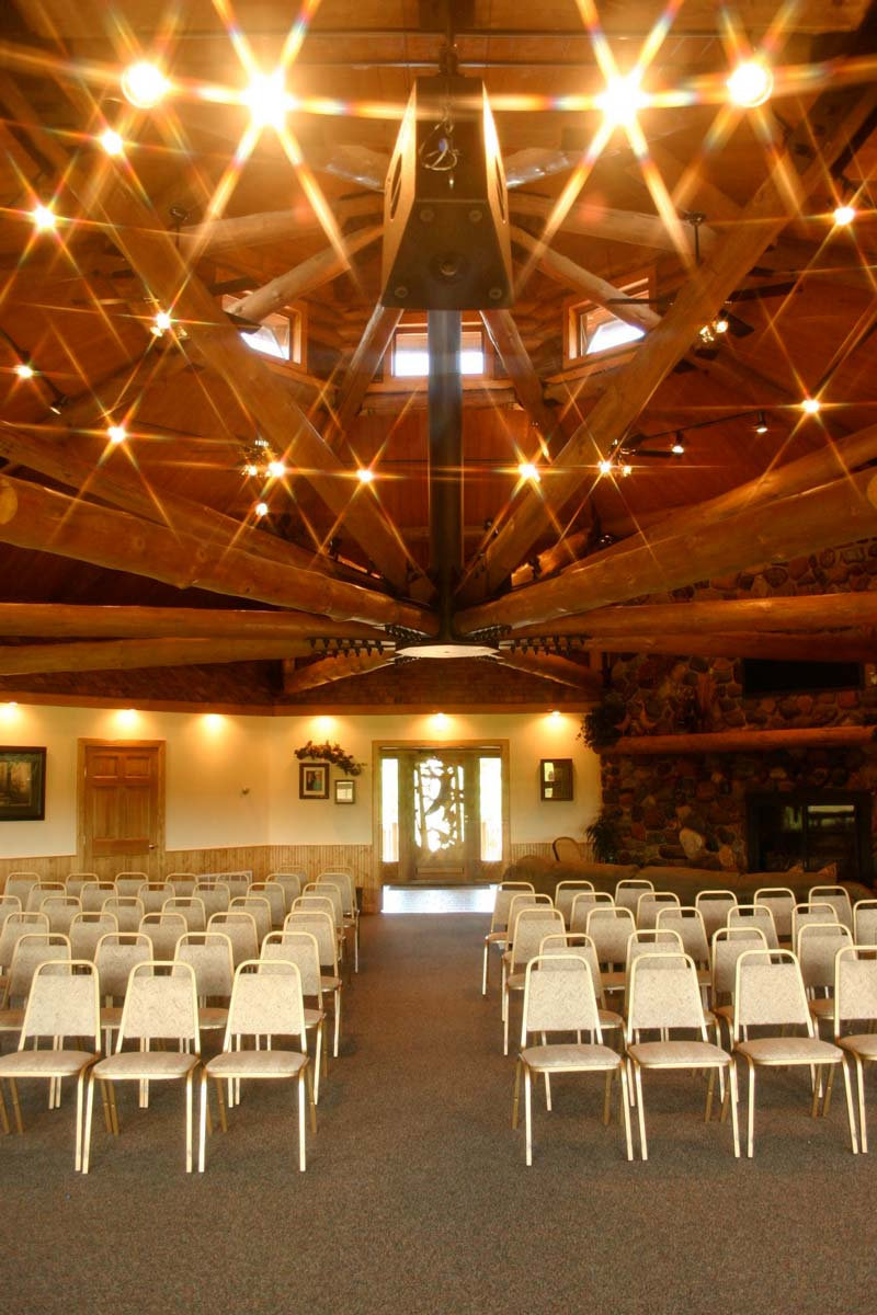 Johnson Hall Chairs Setup with Center Aisle below Starry Ceiling