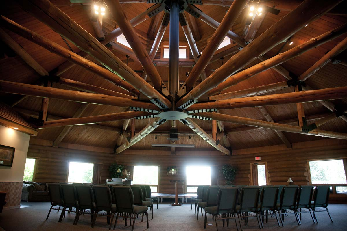 Johnson Hall Majestic Open Log Truss Roof Structure
