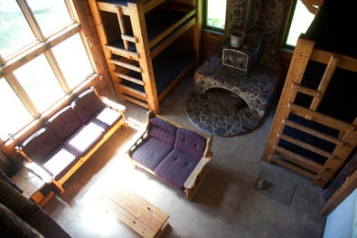 family cabins group cabins retreat cabins Lakeside Cabin Living Area Viewed from Loft