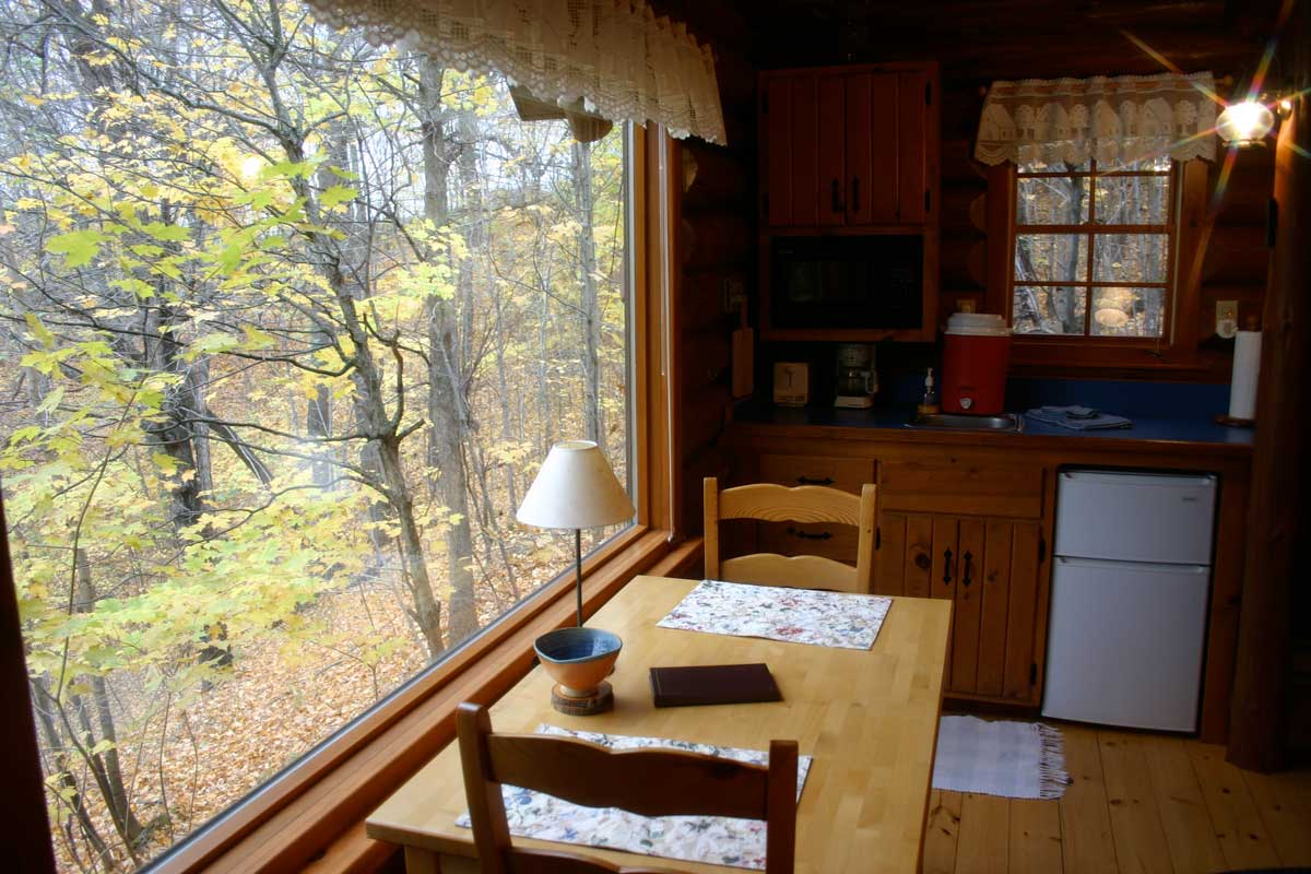 prayer cabins Timothy Prayer Cabin Kitchen Table View of God's creation