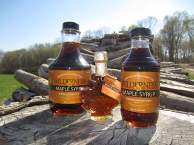 Wilderness Maple Syrup in Quart, Pint and Decorative Maple Leaf Bottles