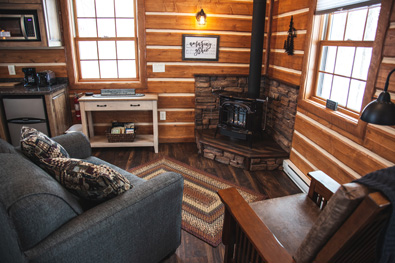 cozy living area in the mercy prayer cabin