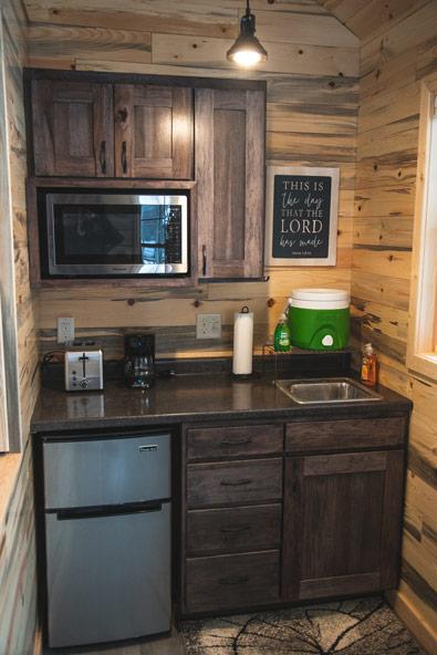 whisper prayer cabin kitchenette